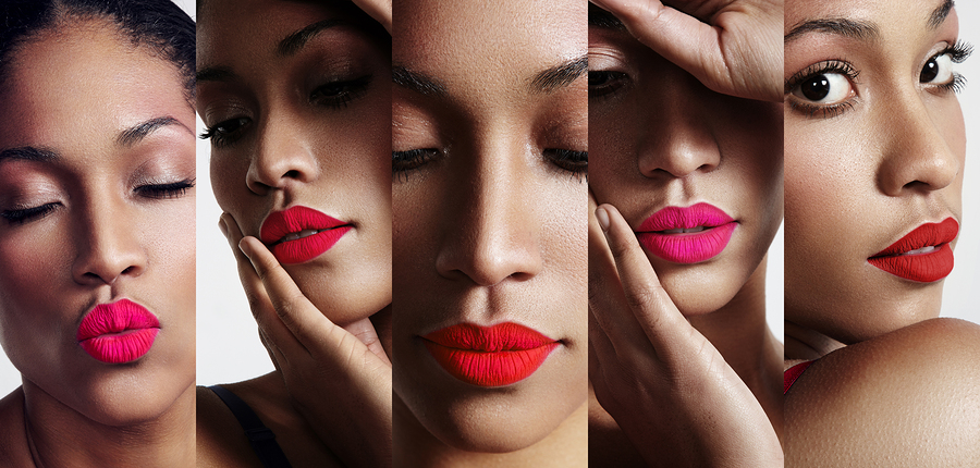 all about lips collage. woman's portraits with bright lips